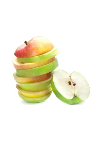 A picture of mixed apples and green apple photo
