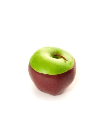 Healthy mixed apple on the white background photo