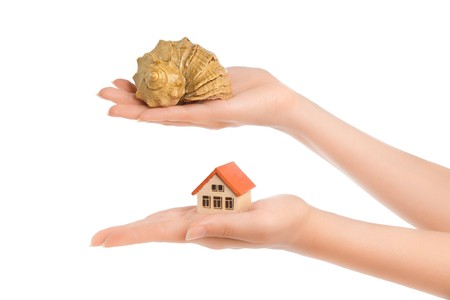 Womans hands with little house and conch isolated on white photo