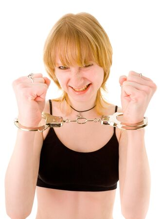 Young blonde in handcuffs photo