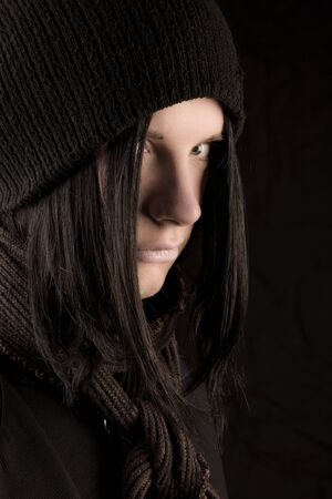 Young gothic man looking to the camera photo