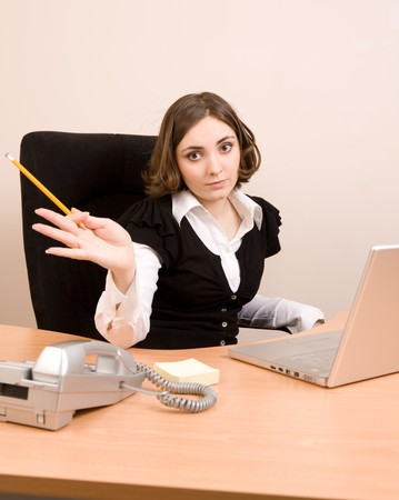 Young businesswoman working at the office Stock Photo - 7957274