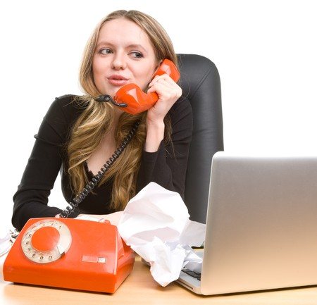 appointee: Beautiful businesswoman calling on phone and smiling Stock Photo