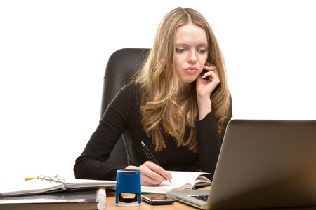 appointee: Young businesswoman working at the office Stock Photo