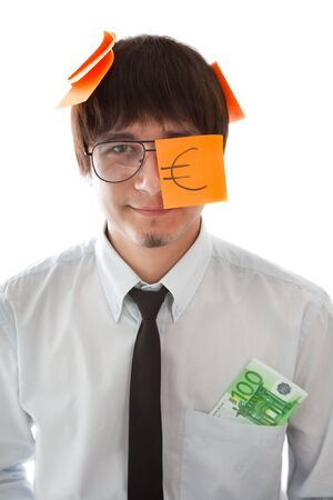 Concepts of future wealth(businessman with two banknotes in his pocket) photo