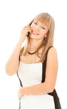 Beautiful businesswoman calling by phone and smiling standing on white photo