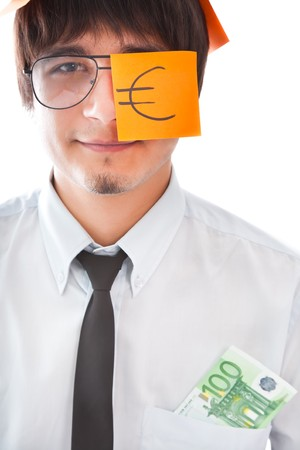 Business concepts (businessman with 100 euro) photo