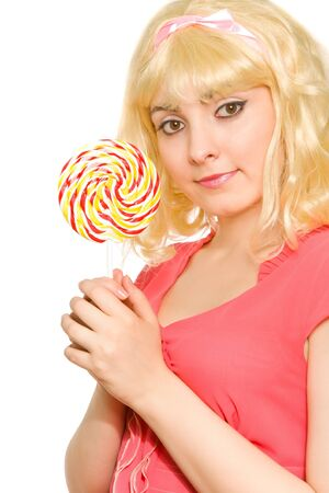 Picture of beautiful blond woman with lollipop photo