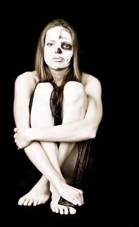 skeleton costume: Picture of zombie woman in black dress