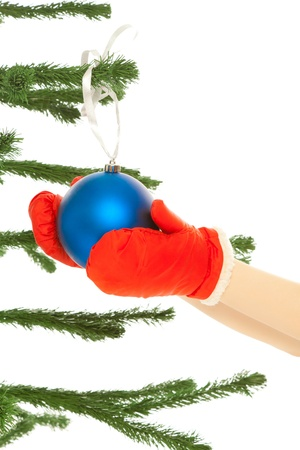 Woman's hands dressing christmas tree Stock Photo - 8481727