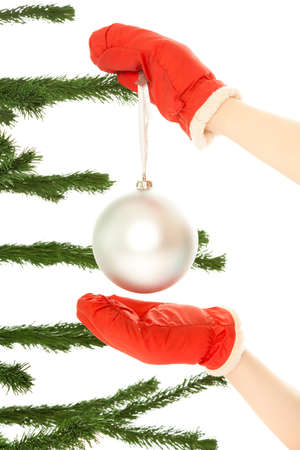 Woman's hands dressing christmas tre Stock Photo - 8481741