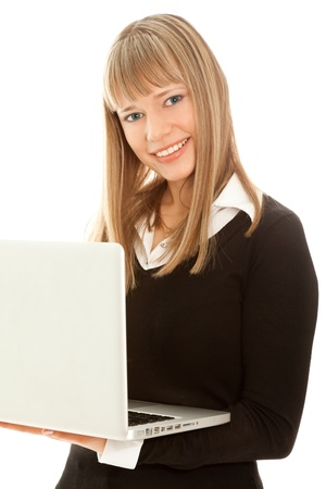 Woman with laptop looking to the camera isolated Stock Photo - 8481736