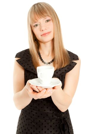 Beautiful woman holding white cup (focus on a cup) Stock Photo - 8481713