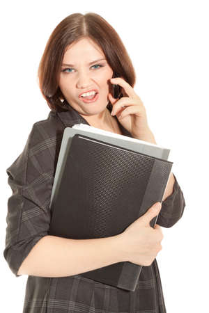 Woman calling to phone and holding a black folder photo