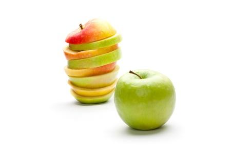 A picture of mixed apples and green apple (focus on mixed apple) photo