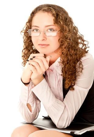 Young businesswoman holding black folder isolated on white photo