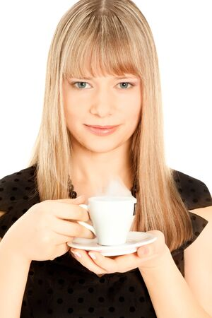 Beautiful woman holding  a cup of coffee isolated on white photo