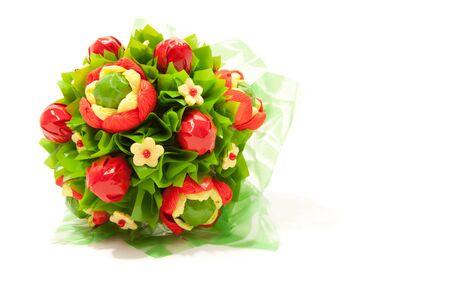 gloriole: Mont�n de coloridas flores dulces aislados en blanco