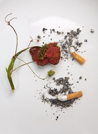 calories poor: Concept of unhealthy life (plate with  cigarette and strawberry)