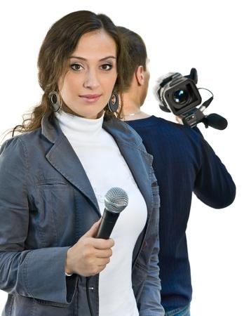 Foto de reportero de televisión y teleoperador Foto de archivo