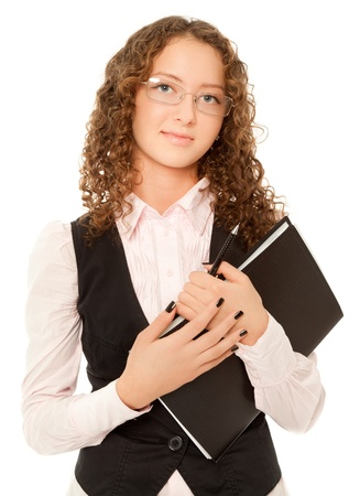 Businesswoman with folder looking to the camera isolated on white photo