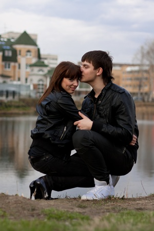 Picture of young happy couple outdoors photo