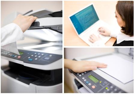impresora: Collage de oficina compuesto de cuatro im�genes