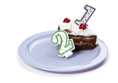 21: Birthday cake with two candles Stock Photo