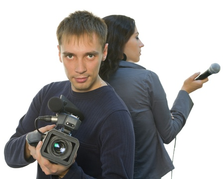 Picture of TV reporter and teleoperator (focus on face) photo