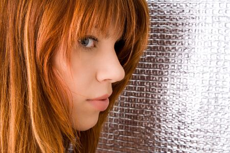 sensuous: Portrait of beautiful ginger-haired woman with full sensuous lips
