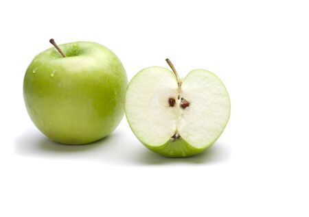 uncut: Picture of one uncut apple and one chopped apple