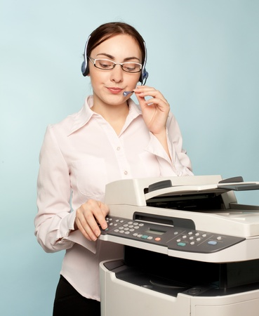 mfp: Businesswoman with copier thinking on the  background Stock Photo