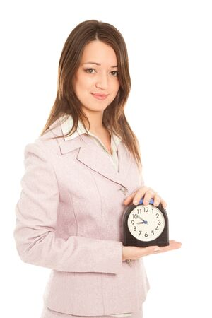 Businesswoman with alarm clock isolated on white Stock Photo - 16753686
