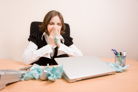 appointee: Young businesswoman with laptop crying at office