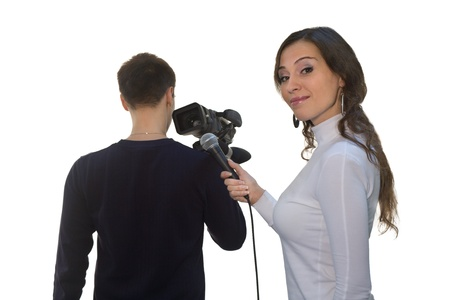 Picture of TV reporter and teleoperator photo