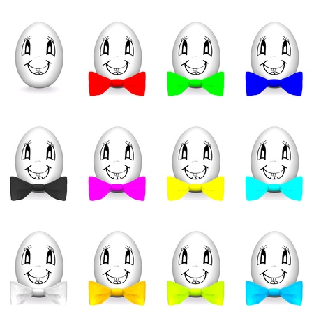 Funny eggs with colorful bow-tie isolated on white photo