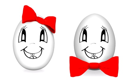 Funny eggs with red bows isolated on white photo