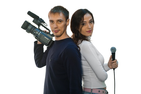 teleoperator: Picture of TV reporter and teleoperator