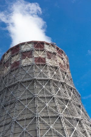 Power plant with huge cooling towers against blue sky Stock Photo - 19912241