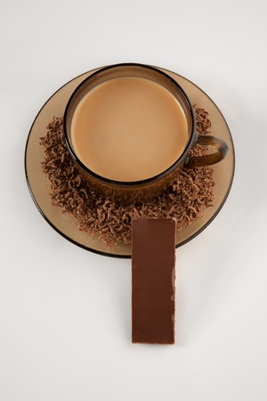Picture of a cup of coffee and chocolate photo