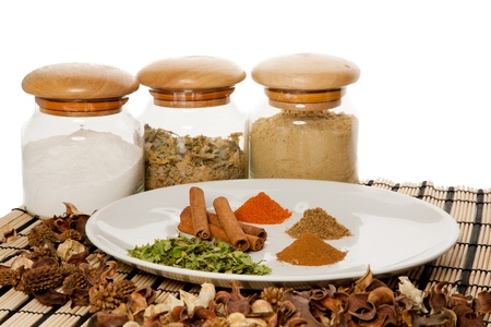 Picture of a plate with different spices on the table photo