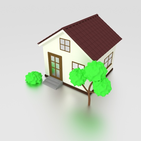 3d house icon with tree photo