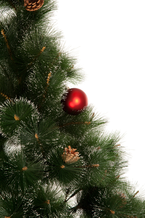 s eve: New year tree with red ball isolated Stock Photo