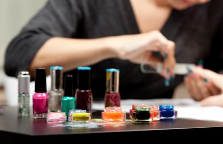 Woman at nail studio photo