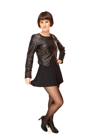 loops: Picture of stylish woman in black jacket with shoulder loops