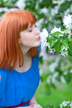 Beautiful ginger-haired woman in blue dress smelling apple-tree photo