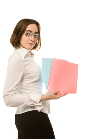 demonstrating: Picture of businesswoman in white demonstrating blue and red folders