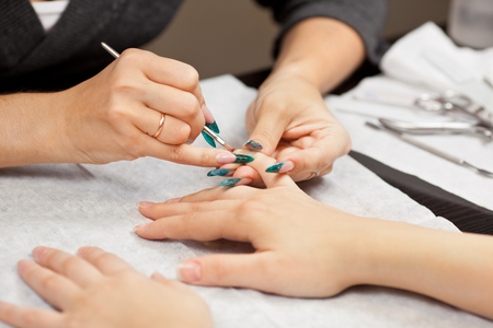 Picture of woman at manicure procedure Stock Photo