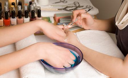 womans hands: Womans hands at manicure procedures