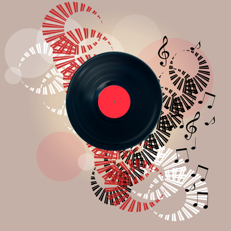 Vintage vinyl record banner.EPS10